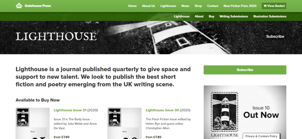 The homepage of Lighthouse