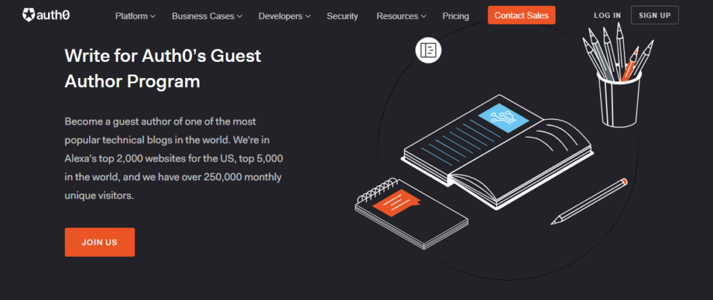 The homepage of Auth0