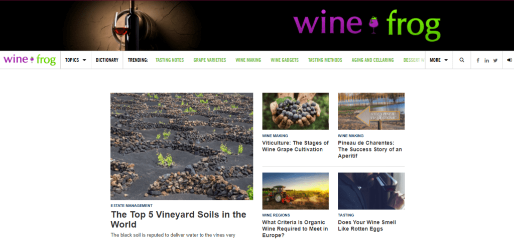 The homepage of WineFrog where you can Get Paid To Write
