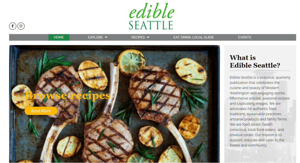 The homepage of Edible Seattle
