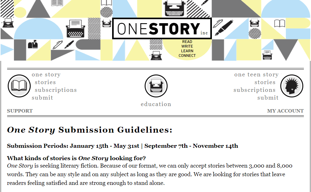 The guidelines page of OneStory where you can Get Paid To Write