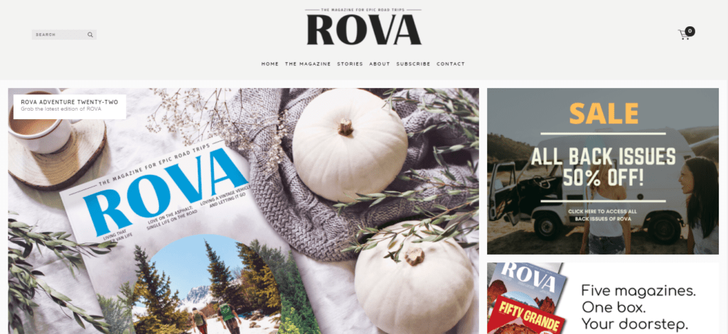 The homepage of Rova
