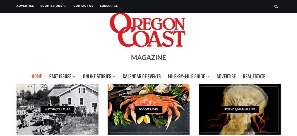 The homepage of Oregon Coast Magazine where you can Get Paid To Write