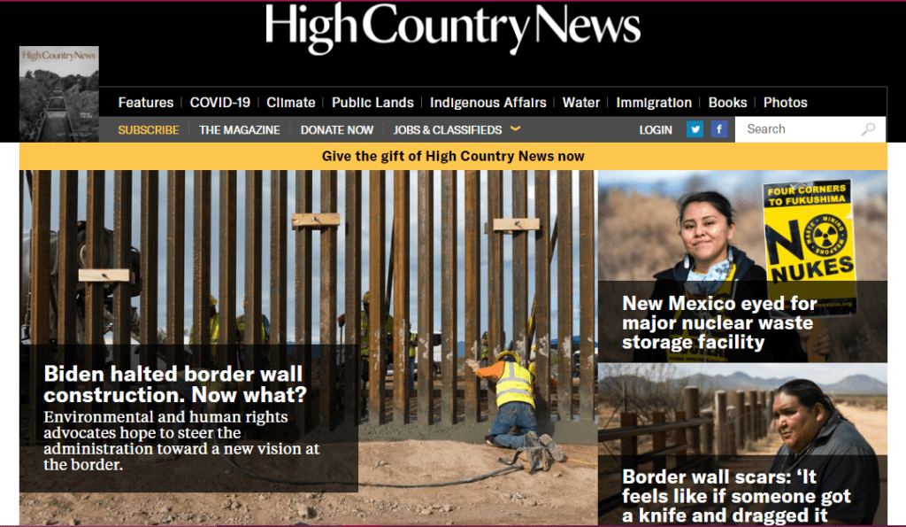 The homepage of High Country News