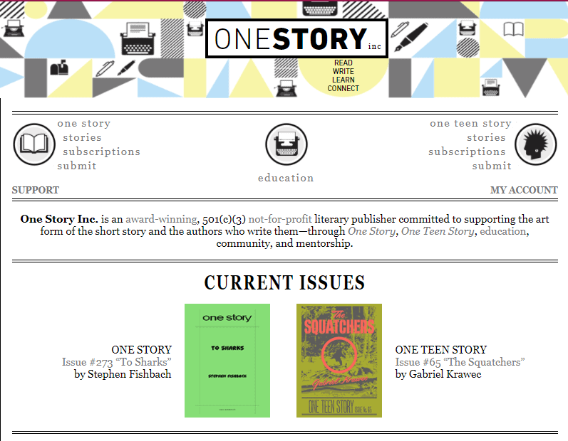 The homepage of One Story