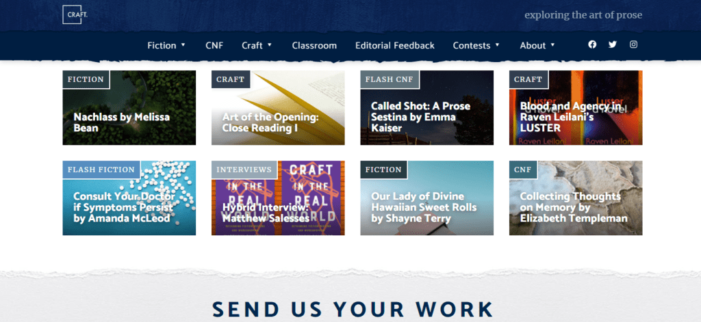 The homepage of Craft where you can Get Paid To Write