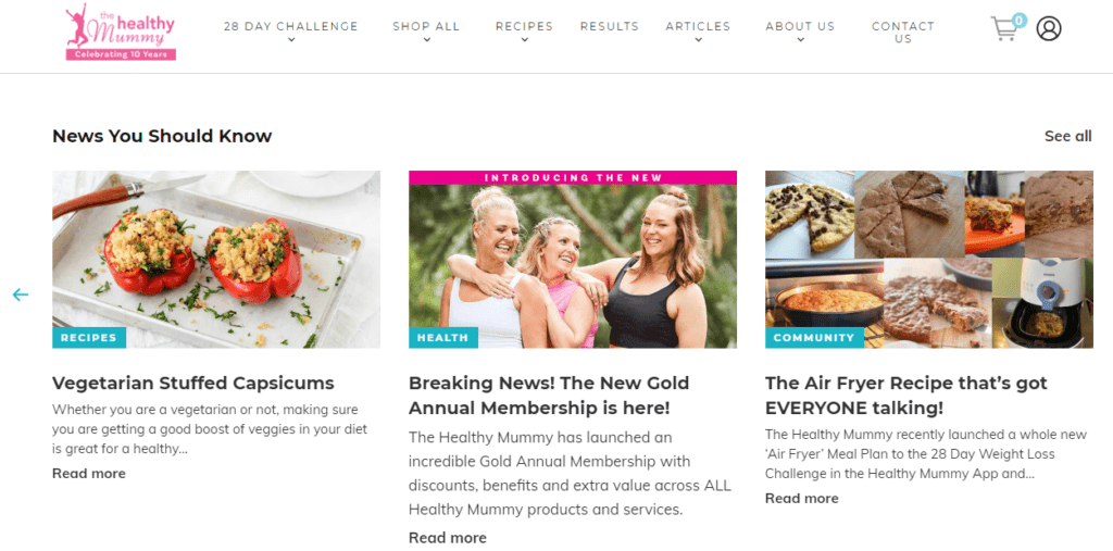 The homepage of The Healthy Mummy