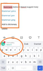 A graphic representation of the grammarly keyboard.
