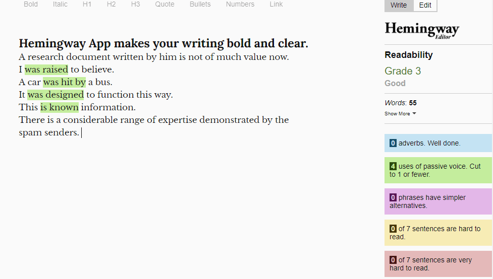 Hemmingway App's suggestions for Passive Voice Checker