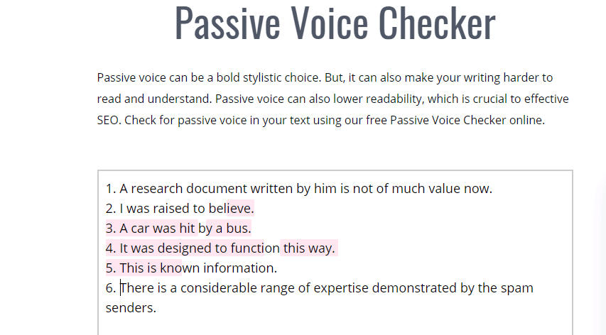 InkForAll's sugggestions for Passive Voice Checker