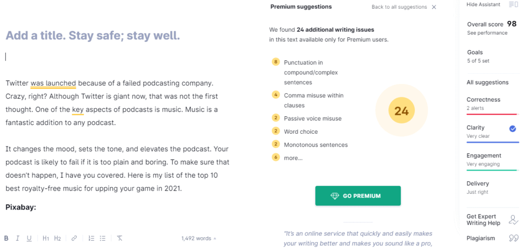 Grammarly's interface for Spell Check Online