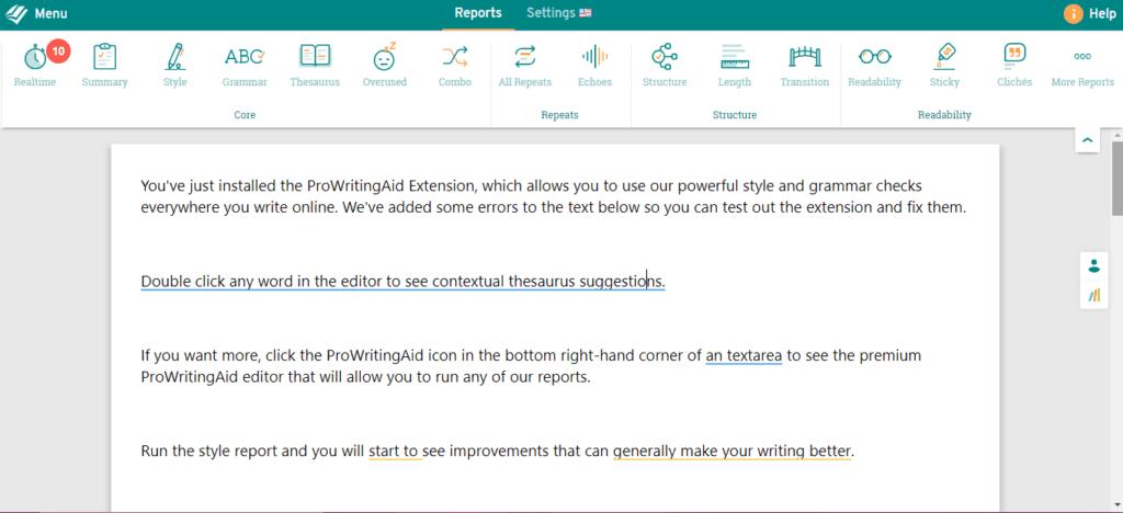 Prowritingaid's interface