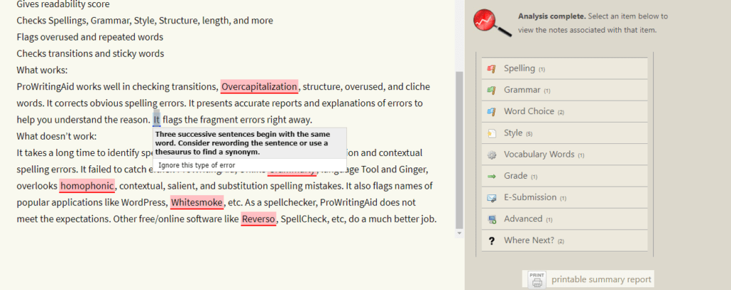 Paper Rater's Interface for Spell Check Online