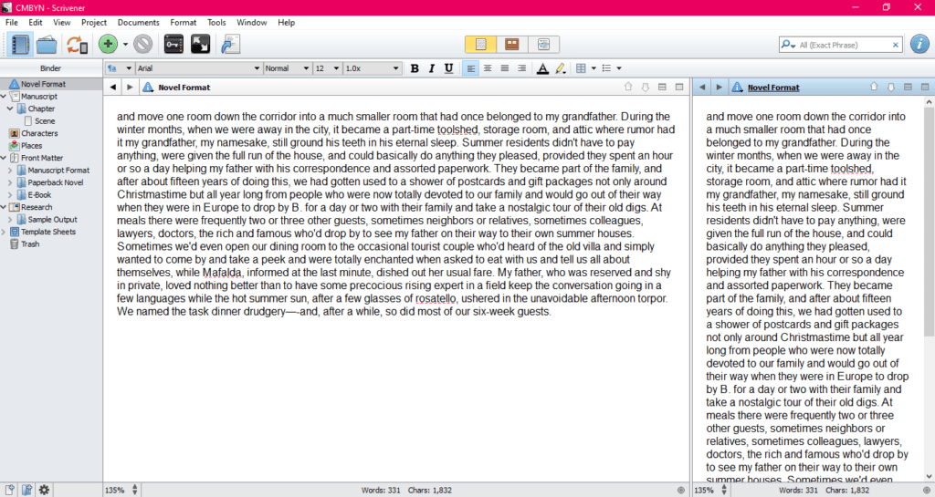 Shows how Scrivener does editing