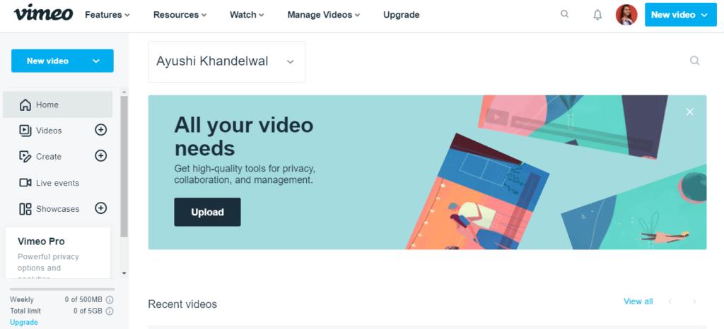 Vimeo Video Hosting Website
