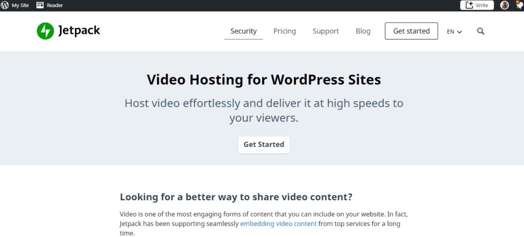 Jetpack Video(WordPress hosting)