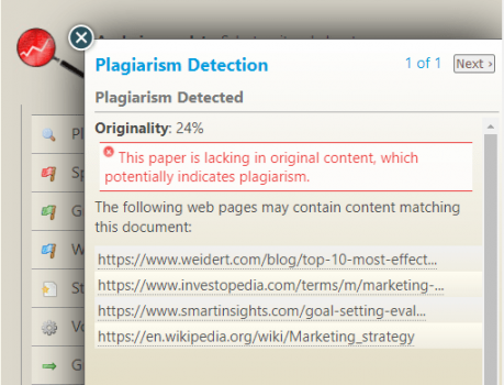 Created by a group of linguists and language experts, PaperRater's plagiarism software gives an originality score on your text