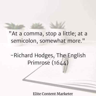 The picture lists a proverb that is about the right way to use a semicolon